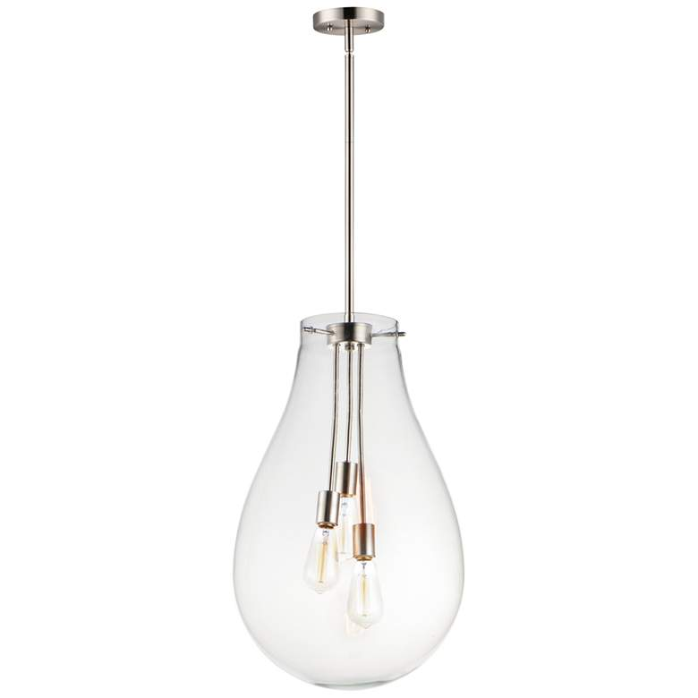 "Maxim Gourd 15 3/4"" Wide Satin Nickel 3-Light Pendant Light"