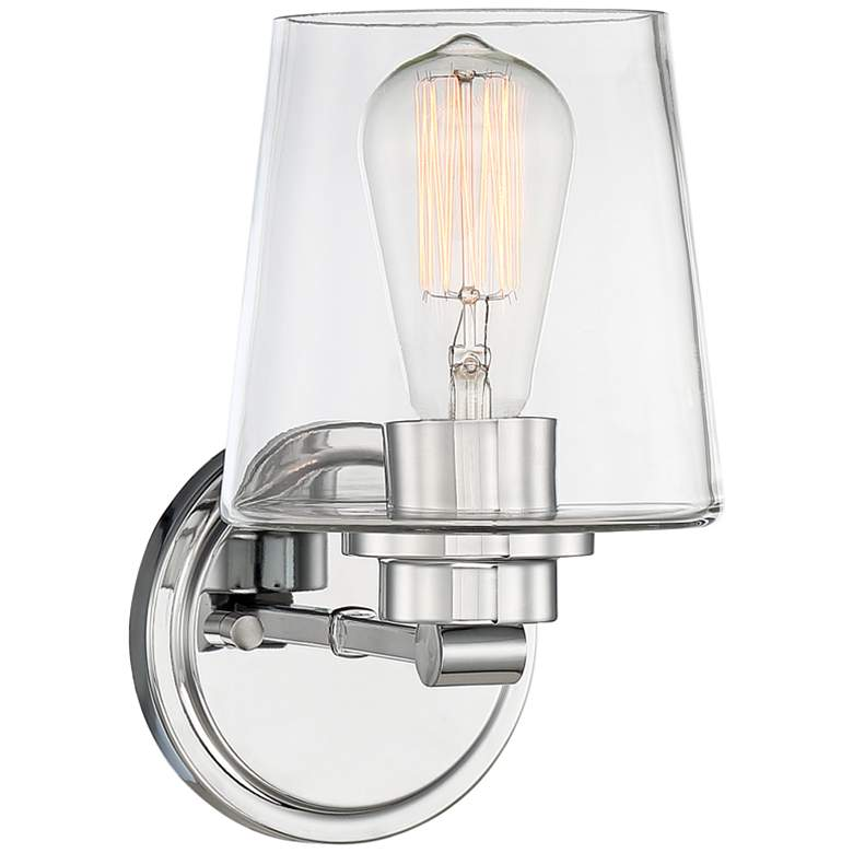 """Possini Euro Brandeis 9 1/4"""" High Chrome and Clear Glass Wall Sconce"""
