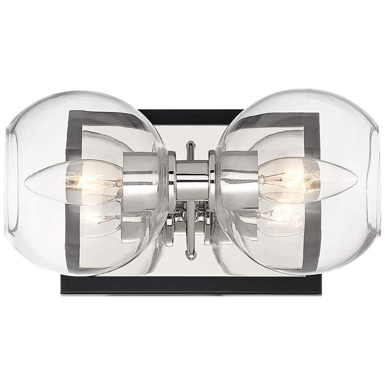 "Rhodes 10"" Wide Brushed Nickel Black 2-Light Wall Sconce"
