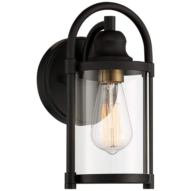"Avani 10 1/4"" High Black and Brass Outdoor Wall Light"