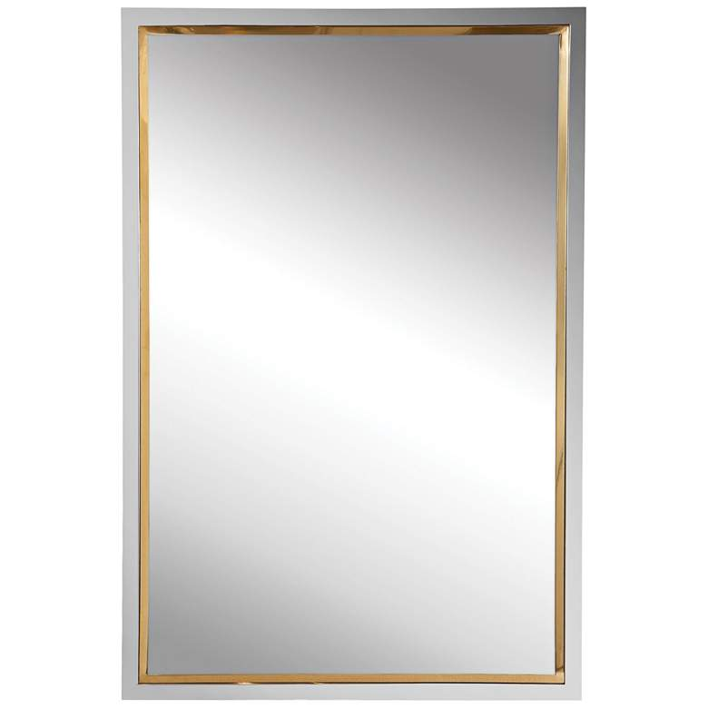 """Uttermost Locke Chrome and Gold 20"""" x 30"""" Vanity Wall Mirror"""