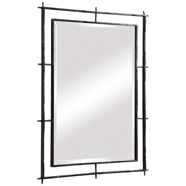 "Ironworks Ebony 40"" x 30"" Iron Frame Handcrafted Wall Mirror"