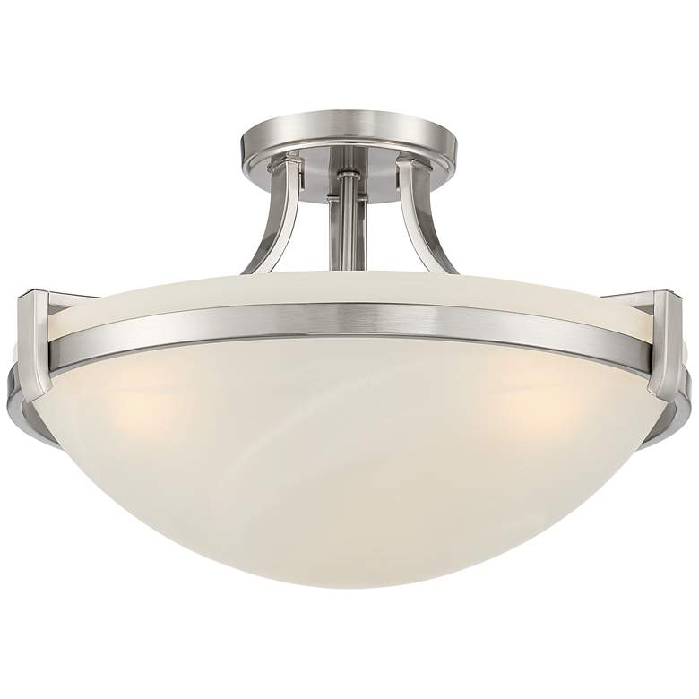 "Mallot 18"" Wide Brushed Nickel Marbleized Glass 3-Light Ceiling Light"