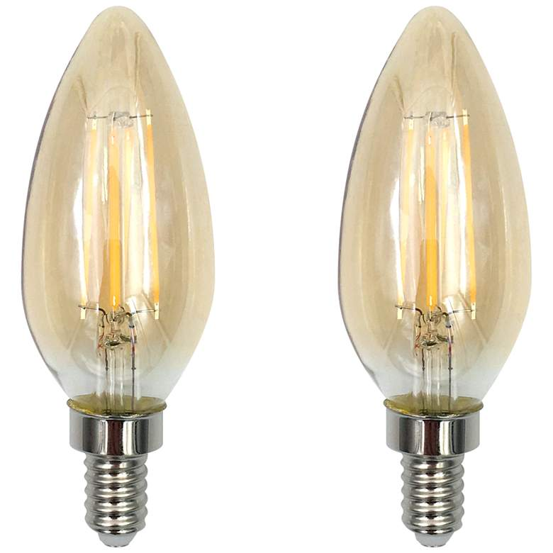 40W Equivalent Amber 4W LED Dimmable Candelabra 2-Pack