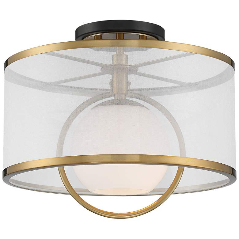 """Carlyn 14"""" Wide Warm Antiqued Brass and Black Ceiling Light"""