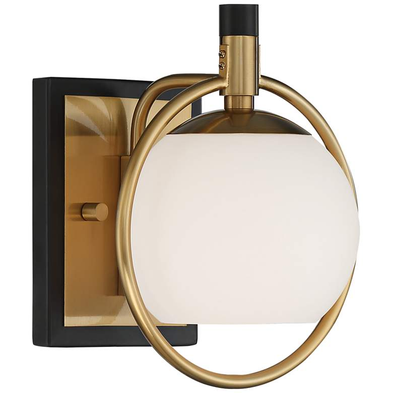 """Carlyn 9 1/2"""" High Warm Antiqued Brass and Black Wall Sconce"""
