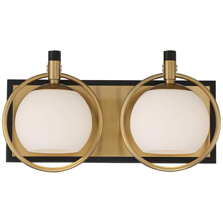"""Carlyn 9 3/4""""H Antiqued Brass and Black 2-Light Wall Sconce"""