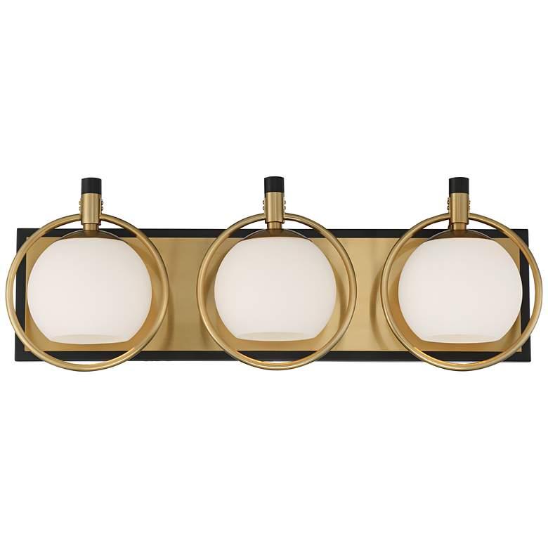 "Carlyn 26""W Warm Antiqued Brass and Black 3-Light Bath Light"
