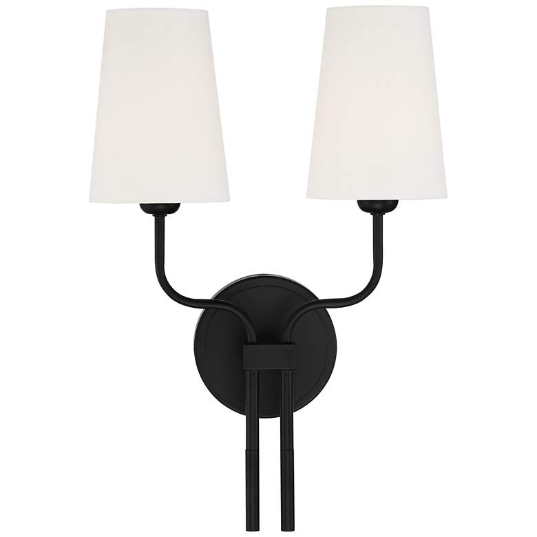 "Melody 19 1/2"" High Black Metal 2-Light Wall Sconce"