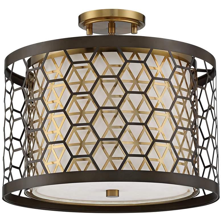"Rondo 16"" Wide Bronze and Brass Laser Cut Drum Ceiling Light"