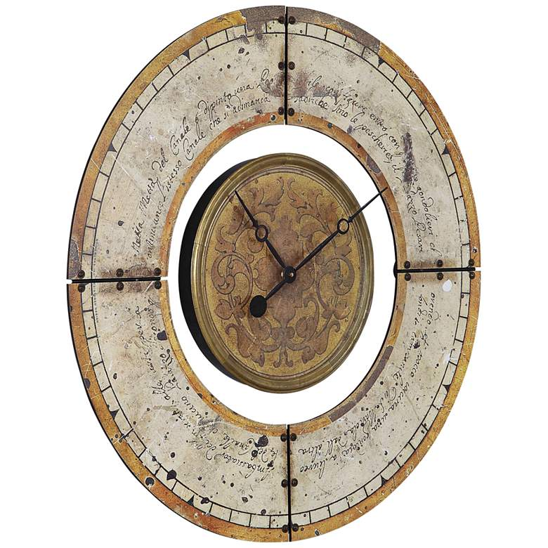 "Ezekiel Aged Ivory and Golden Brown 30 1/2"" Round Wall Clock"