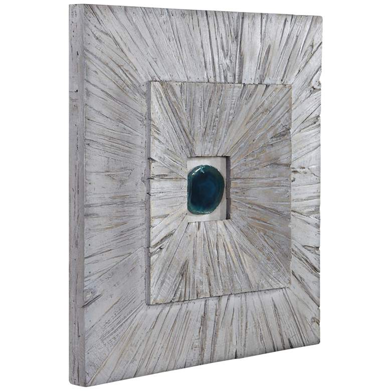 """Uttermost Anika 20"""" Square Bleached Blonde Wood Wall Art"""