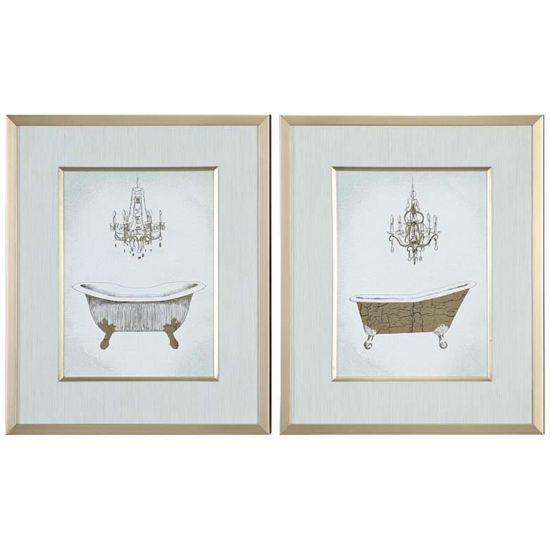"Gilded Bath 24 1/4"" High 2-Piece Framed Wall Art Print Set"