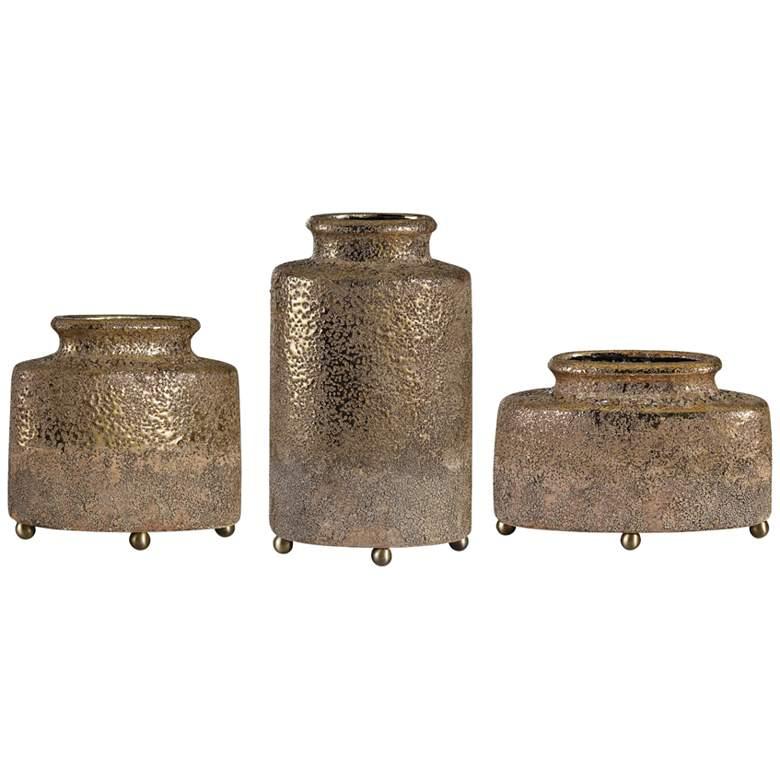 Uttermost Kallie Metallic Golden Decorative Vases Set of 3