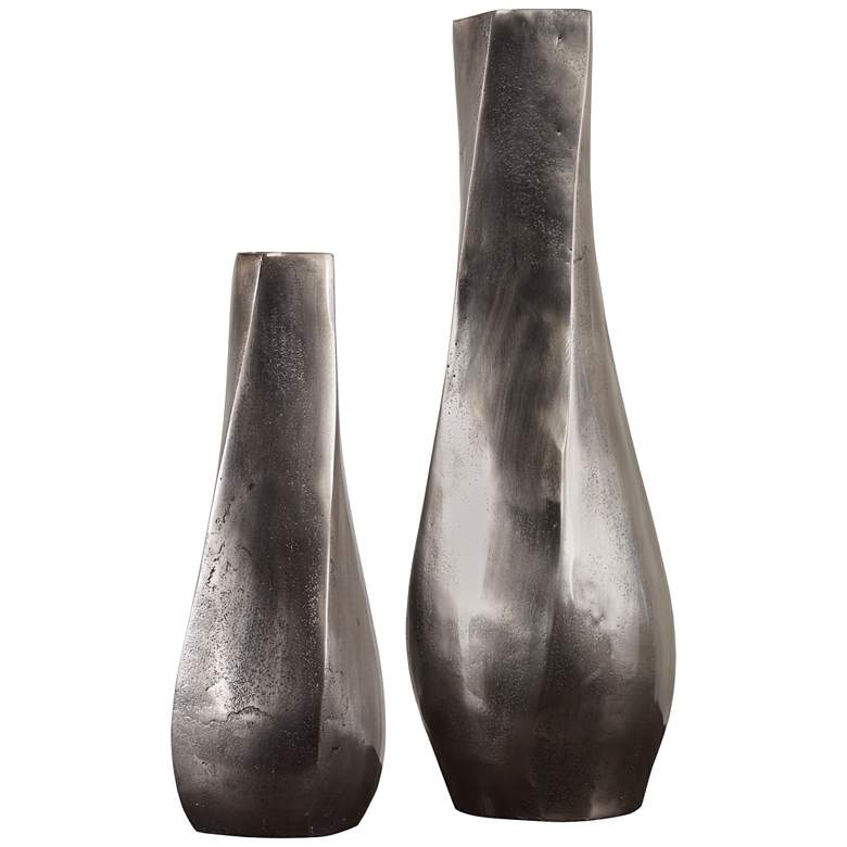 Uttermost Noa Antiqued Nickel Decorative Vases Set of 2