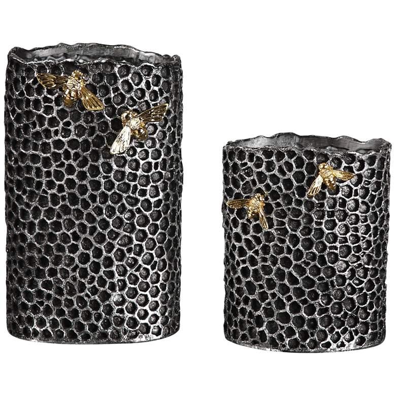 Uttermost Hive Black Honeycomb Decorative Vases Set of 2