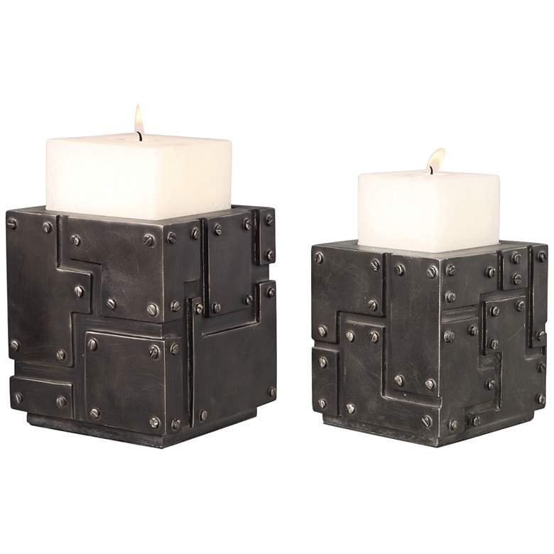 Uttermost Malak Steel Patina Pillar Candle Holders Set of 2