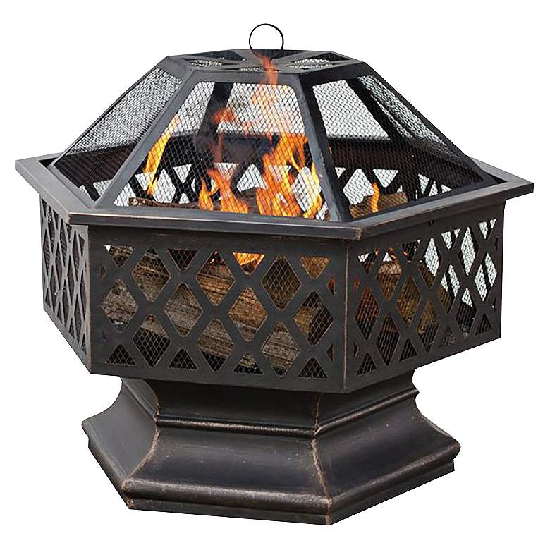 """Dreyden 27 1/4""""W Oil Rubbed Bronze Wood Burning Outdoor Fire Pit"""