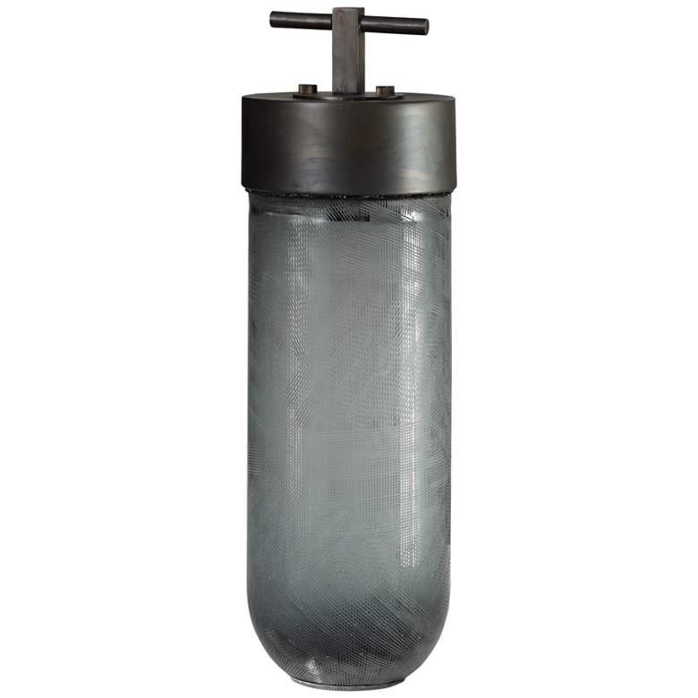 "Uttermost Virika 15 1/2"" High Gray Art Glass Container"