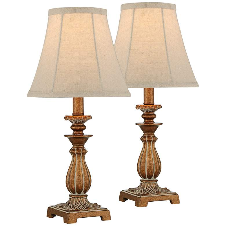 """Cali 18"""" High Golden Brown Candlestick Accent Lamps Set of 2"""