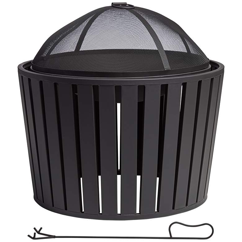 """Secorro 25"""" Wide Black Steel Wood Burning Outdoor Fire Pit"""