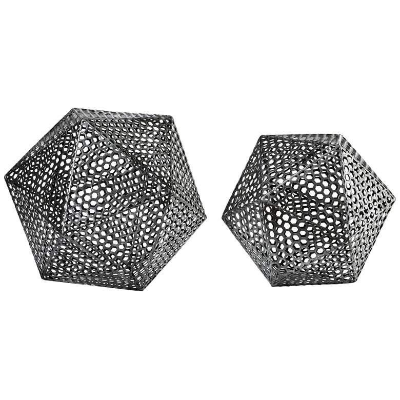Kimora Aged Bronze Icosahedron Decorative Objects Set of 2