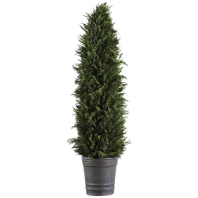 """Green Cypress Cone Topiary 36"""" High Faux Plant in Gray Pot"""
