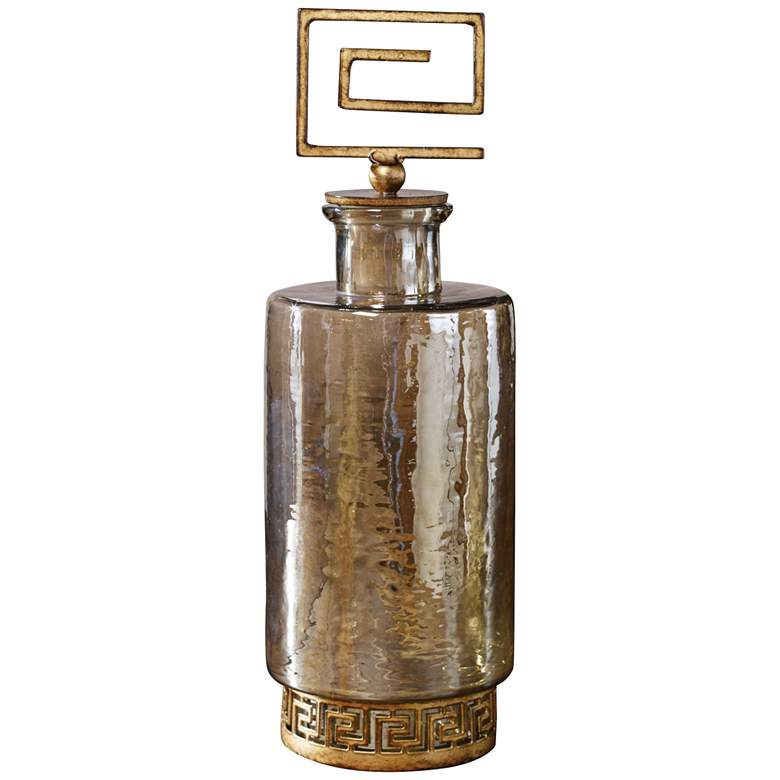 "Neev 15 1/2"" High Copper Bronze and Gold Decorative Decanter"
