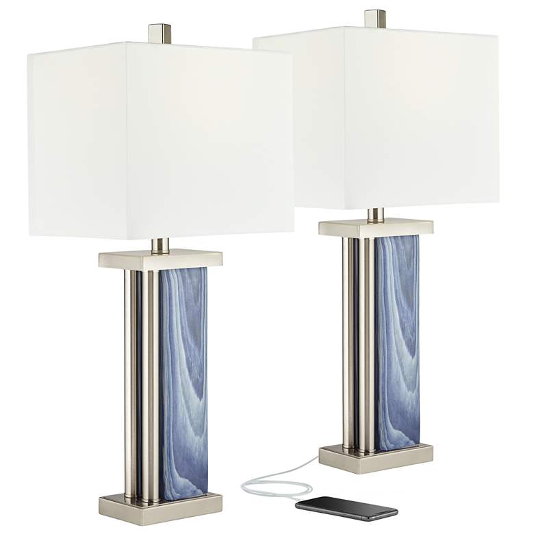 Laguna Blue Modern Coastal USB Table Lamps Set of 2