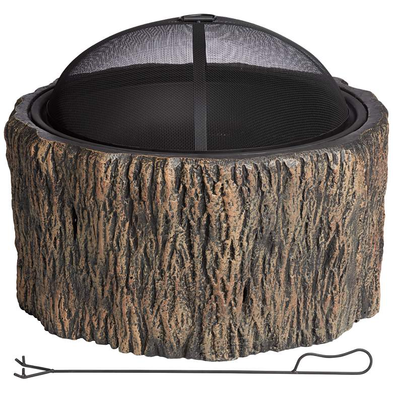 "Blethen 27"" Wide Brown Wood Burning Outdoor Fire Pit"