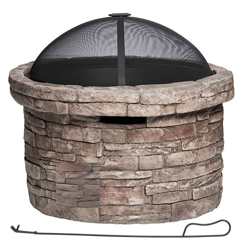 """Breckenridge 26""""W Faux Stone Wood Burning Outdoor Fire Pit"""
