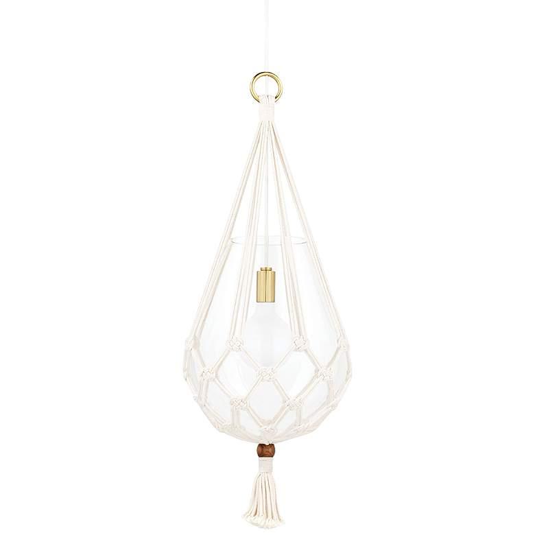 "Mitzi Tessa 14 3/4"" Wide Aged Brass Pendant Light"