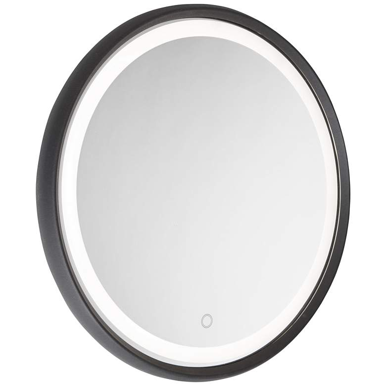 """Reflections Matte Black 23 3/4"""" Round LED Wall Mirror"""