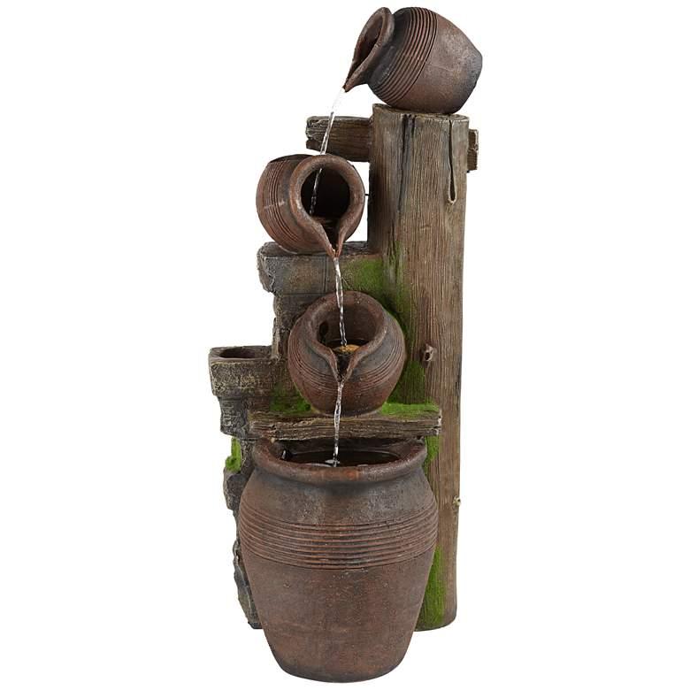 "Four Pot 39 1/4""H Terracotta LED Cascading Outdoor Fountain"