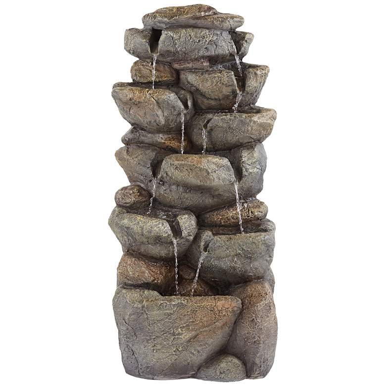 """Stone Wall 39"""" High Multi-Tier Lighted Garden Water Fountain"""
