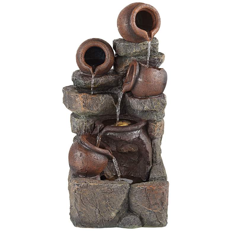 """Rustic Pottery 32"""" High Garden Fountain with LED Lights"""