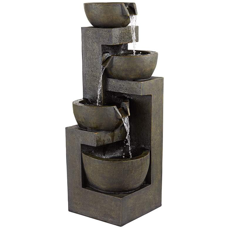 "Four Bowl 42"" High Gray LED Cascading Outdoor Fountain"