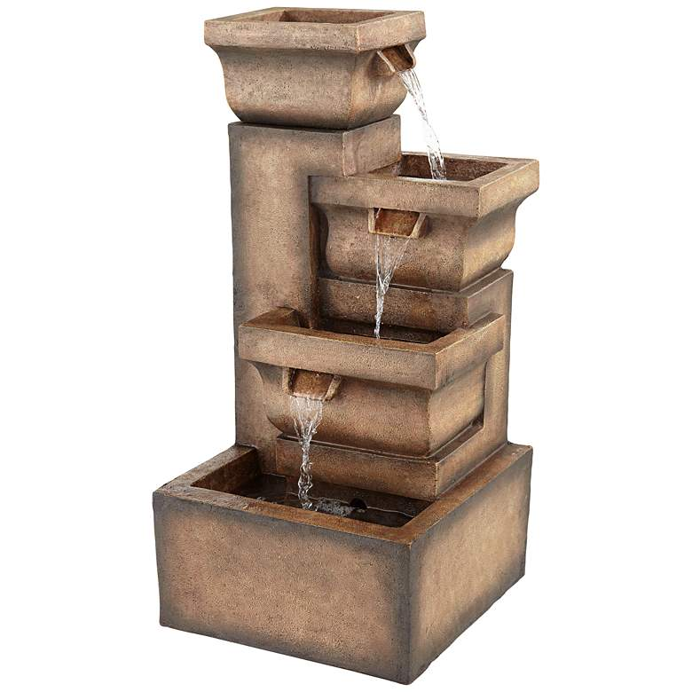 """Four Square Pot 33"""" High Rustic Stone LED Cascading Outdoor Fountain"""