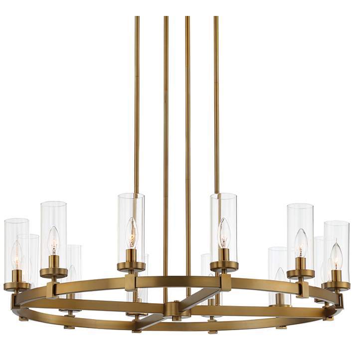 Aron 36 W Brass 12 Light Wagon Wheel Chandelier 88h33 Lamps Plus