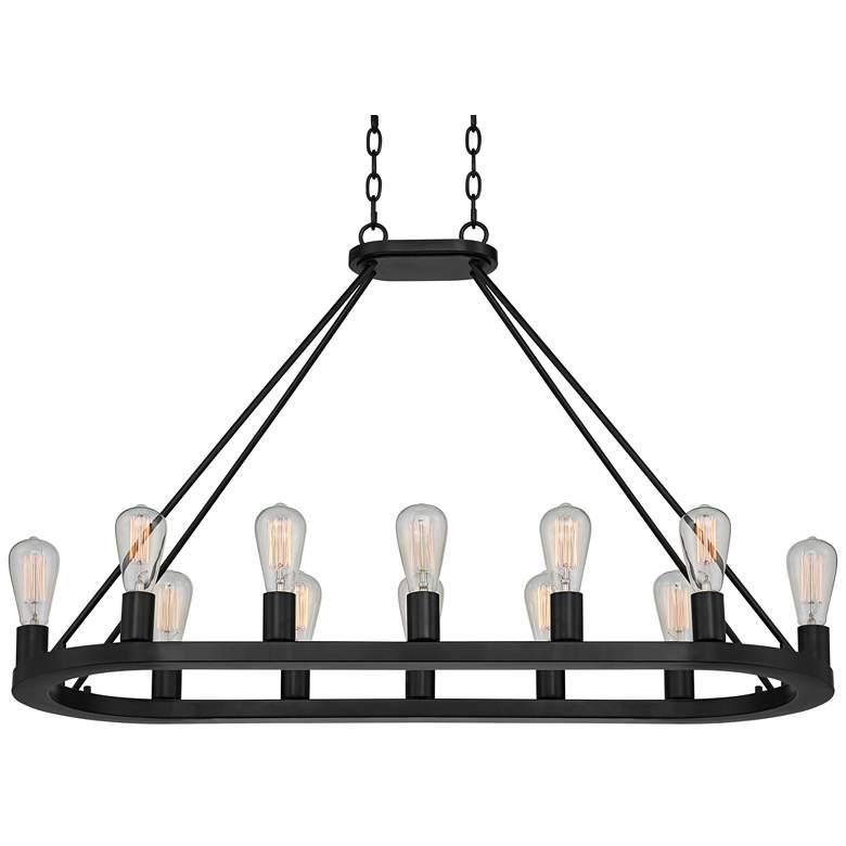 "Lacey 42"" Wide Black Oval 12-Light LED Chandelier"