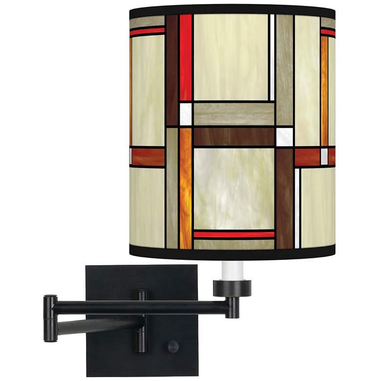 Modern Squares Espresso Bronze Swing Arm Wall Lamp
