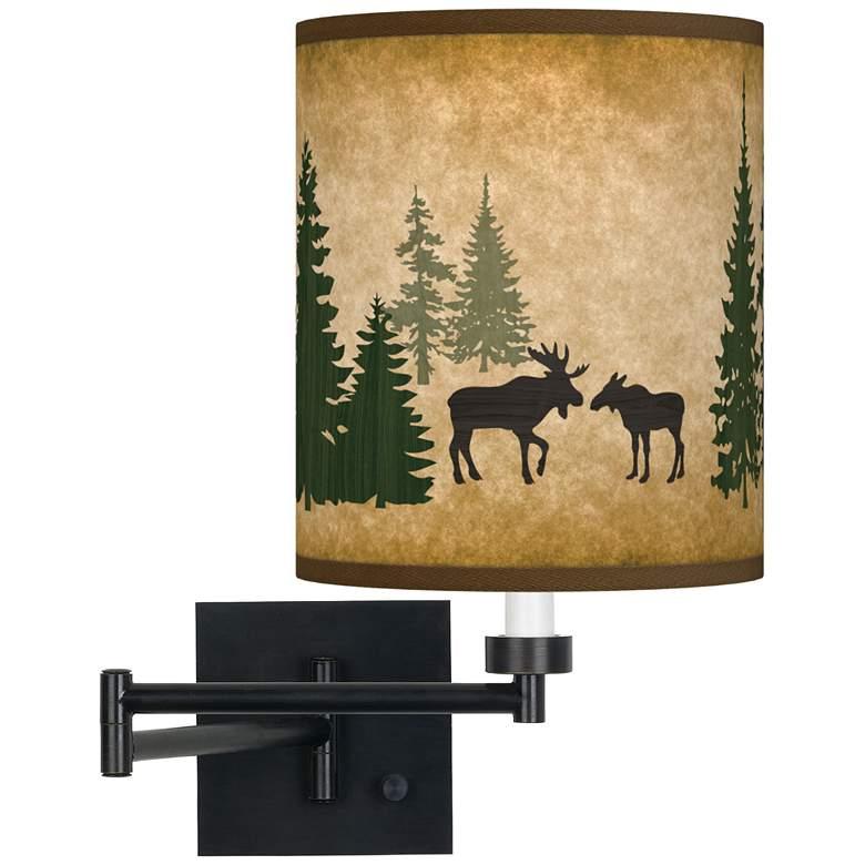 Moose Lodge Espresso Bronze Swing Arm Wall Lamp