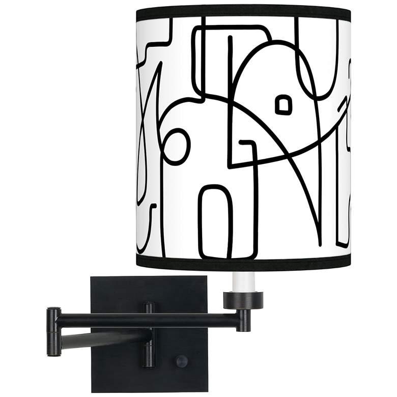 Scribble World Espresso Bronze Swing Arm Wall Lamp