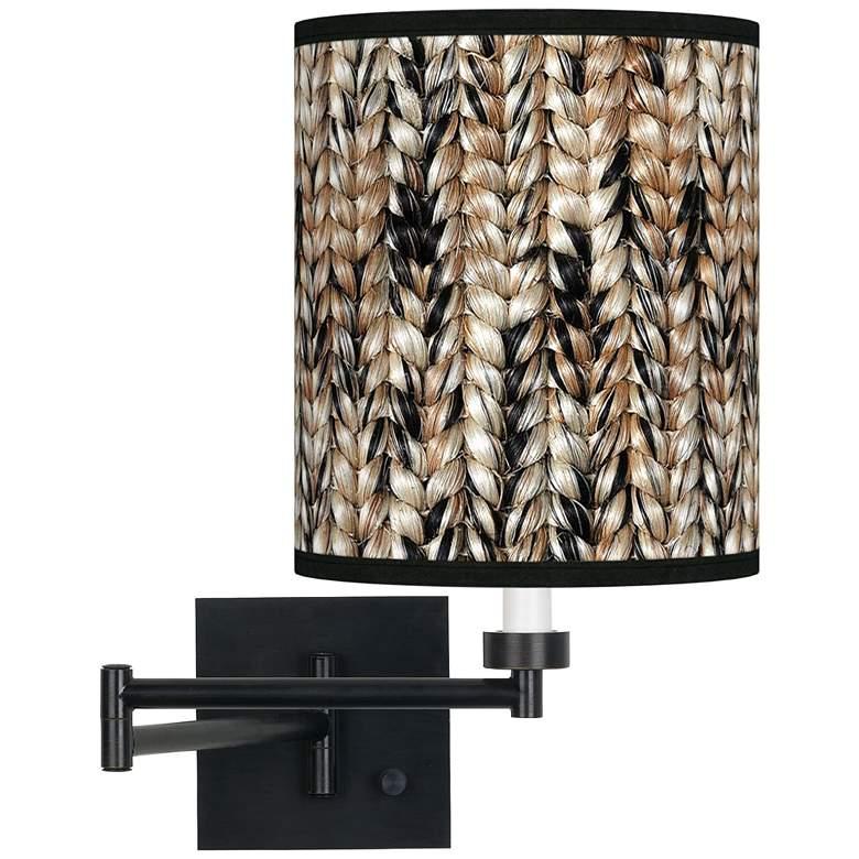 Braided Jute Espresso Bronze Swing Arm Wall Lamp