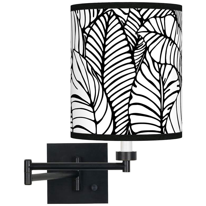 Tropical Leaves Espresso Bronze Swing Arm Wall Lamp