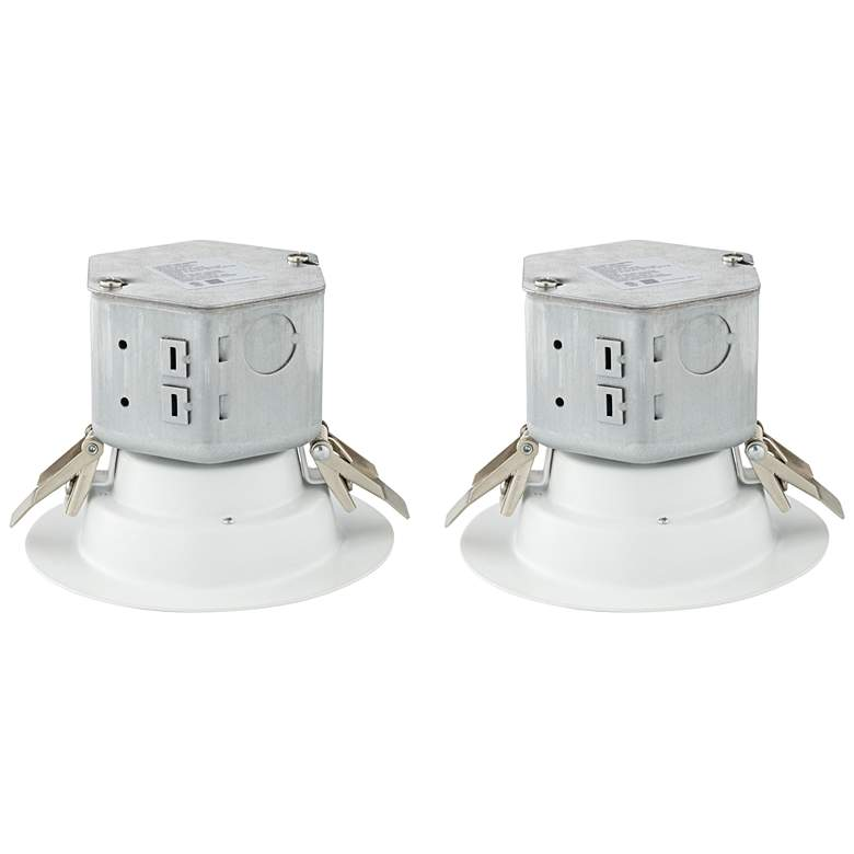 """Can or Housing Free 4"""" White 10W LED Retrofit Trims 2-Pack"""