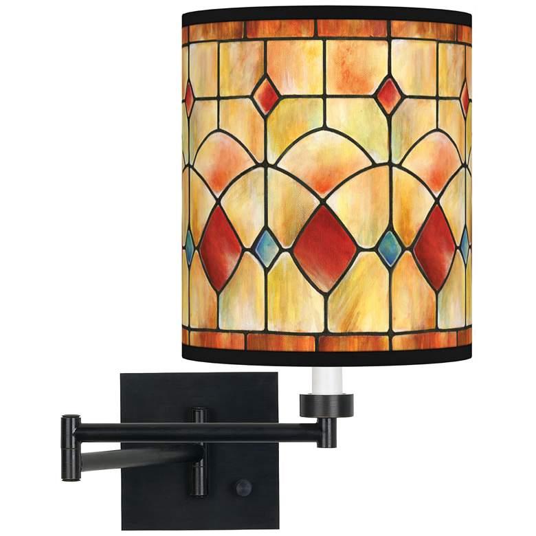 Tiffany-Style Reds Espresso Bronze Swing Arm Wall Lamp