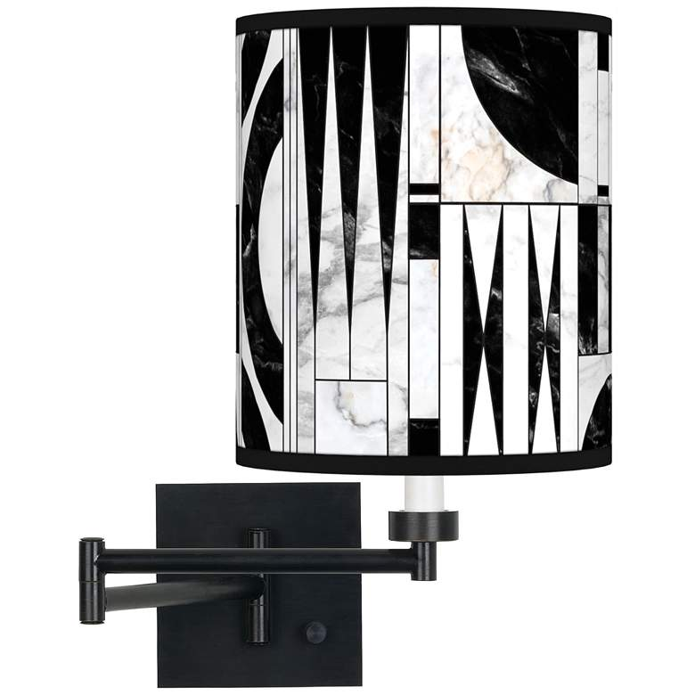 Noir Marble Espresso Bronze Swing Arm Wall Lamp