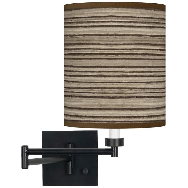 Cedar Zebrawood Espresso Bronze Swing Arm Wall Lamp