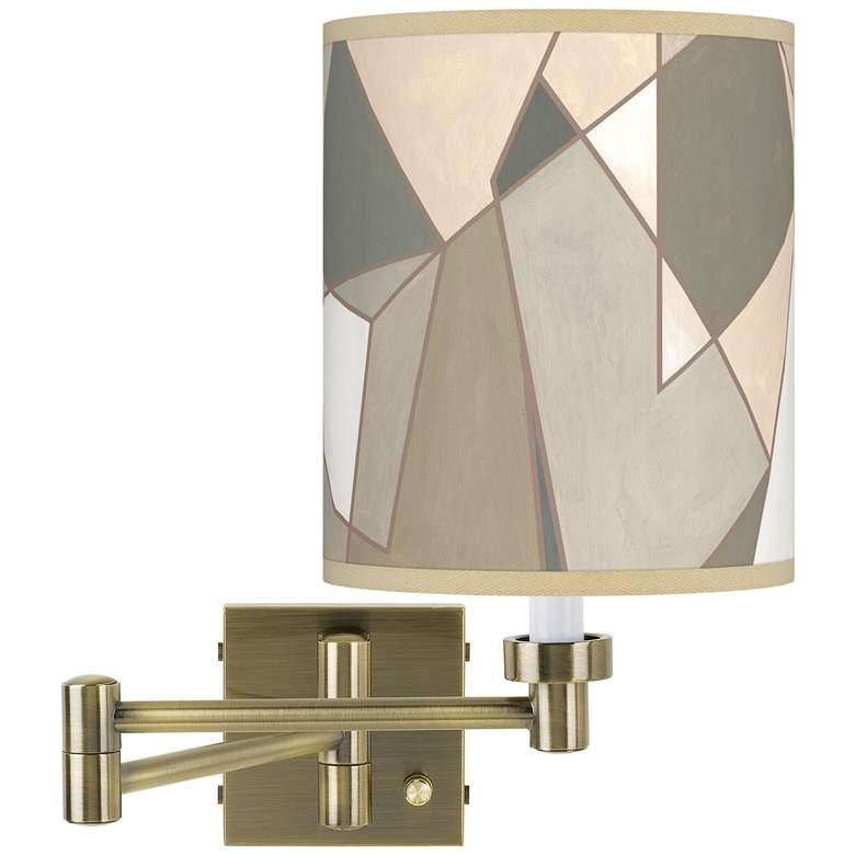 Modern Mosaic I Antique Brass Swing Arm Wall Lamp